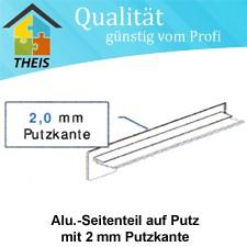 Alu-Seitenteile auf Putz mit 2 mm Putzkante - 50 mm bis 400 mm