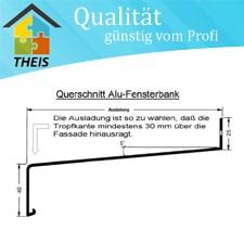 Aluminium-Fensterbank SK 40 nicht vorgelocht - 420 bis 600 mm maßgenau